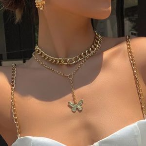 Double Chain Gold Butterfly Necklace Set